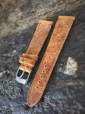 Vintage leather strap for Rolex coach color Stitching color: Red