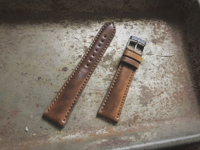 Cordovan leather strap Leather colour: Color taupe
